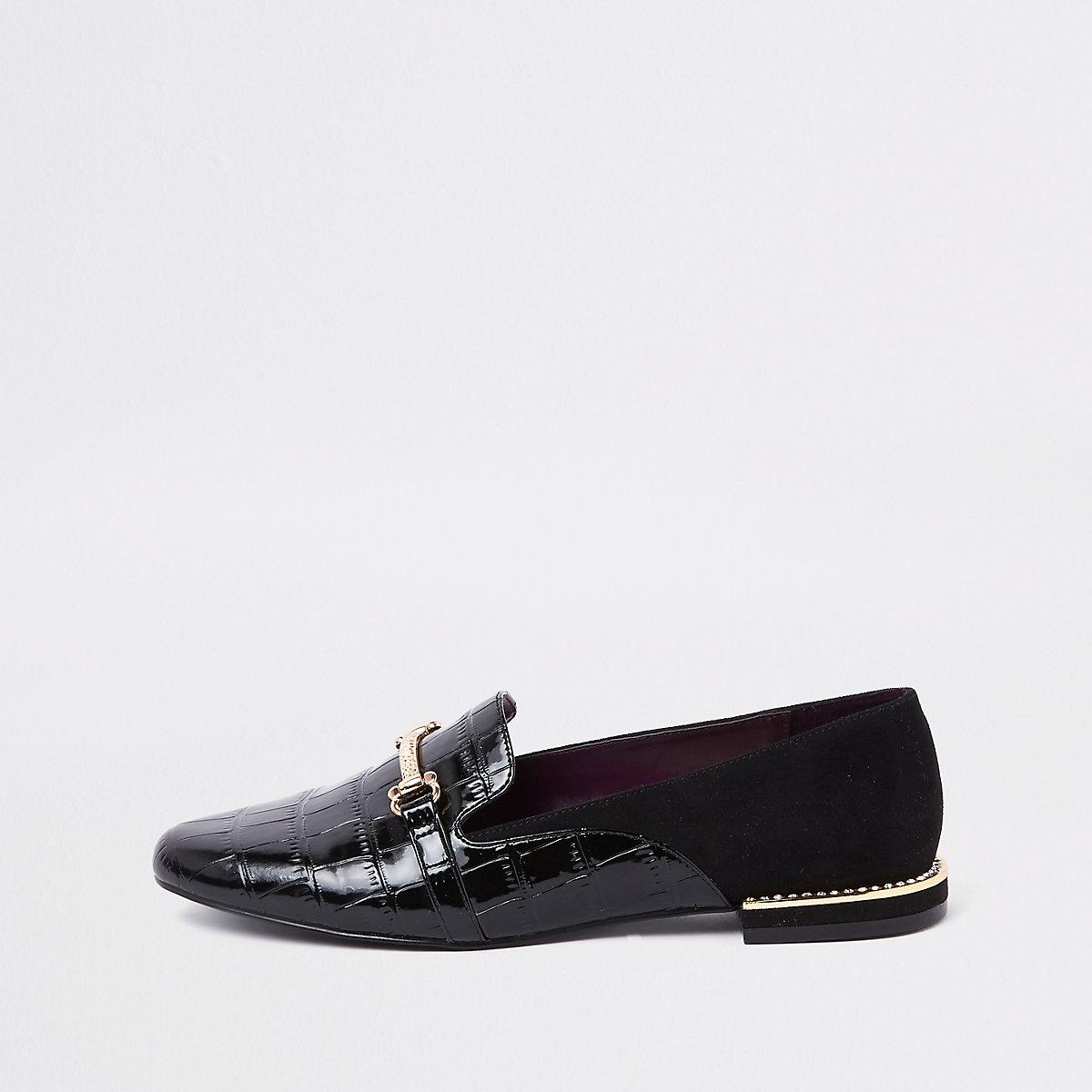 Black gem heel snaffle loafers