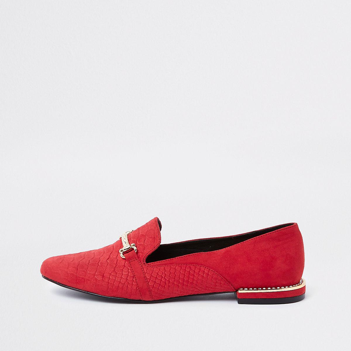 Red croc gem heel snaffle loafers