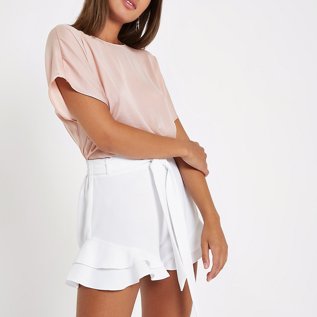 Light pink short sleeve bar back top