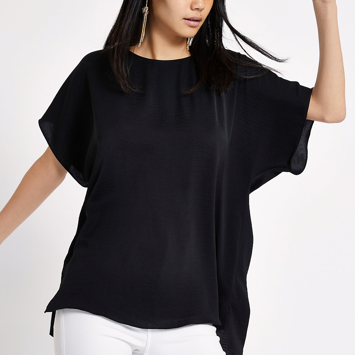 T-shirt noir avec bande dans le dos