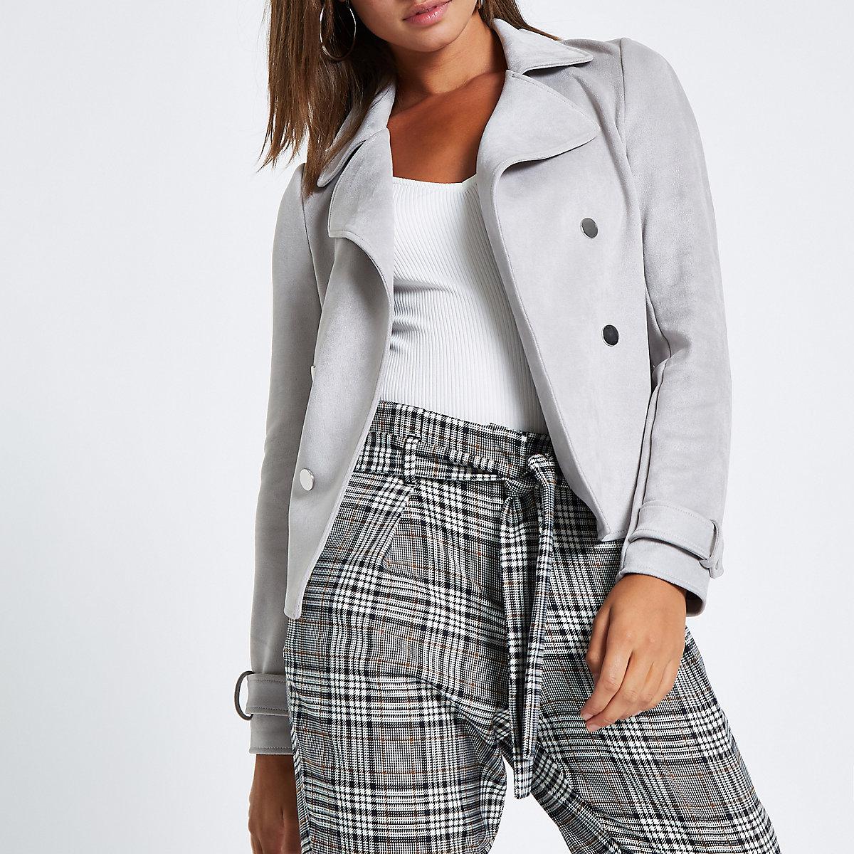 Grey faux suede popper front fallaway jacket