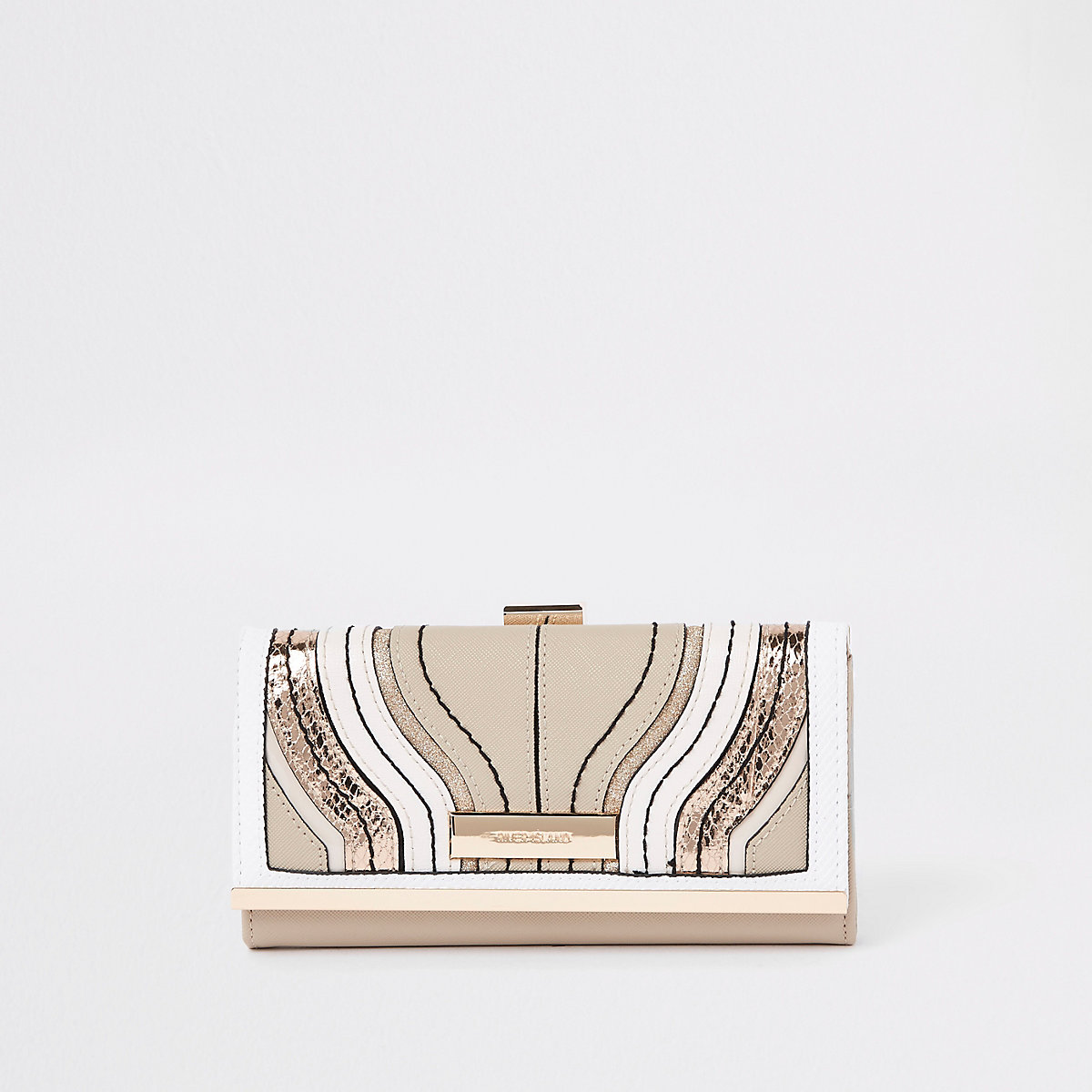 Cream wave cutabout cliptop purse