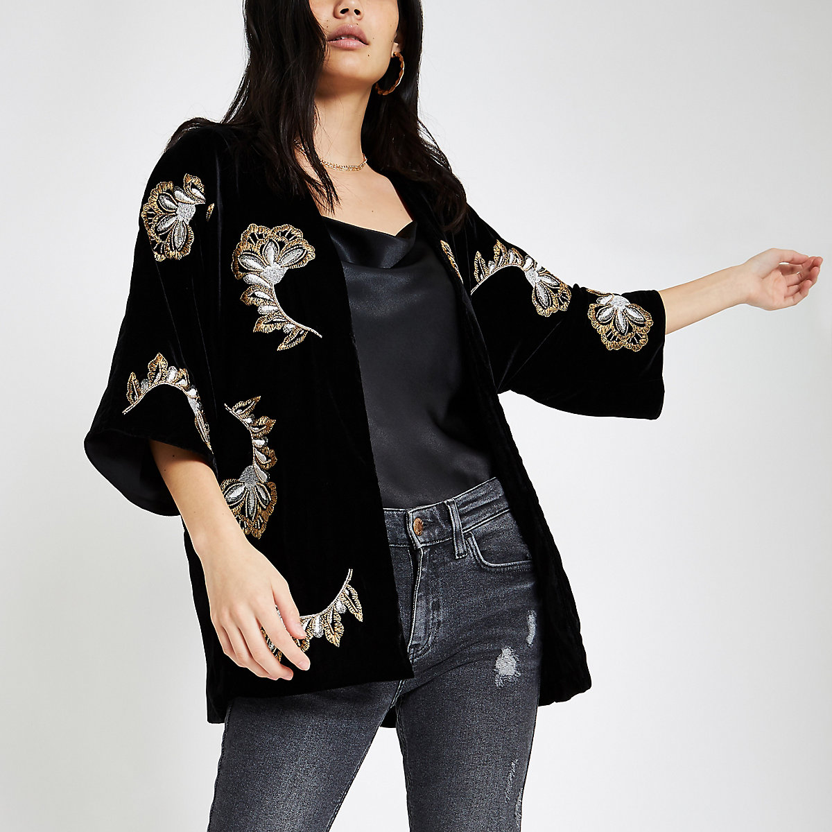 Black velvet embroidered kimono