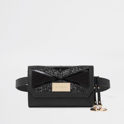 Black Cutabout Panel Belt Bum Bag by River Island