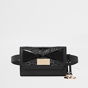 Black cutabout panel belt bum bag