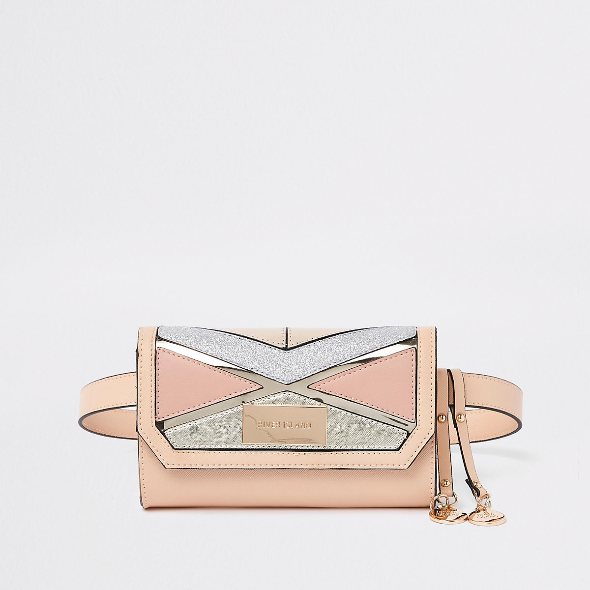 Beige cutabout glitter panel belt bum bag