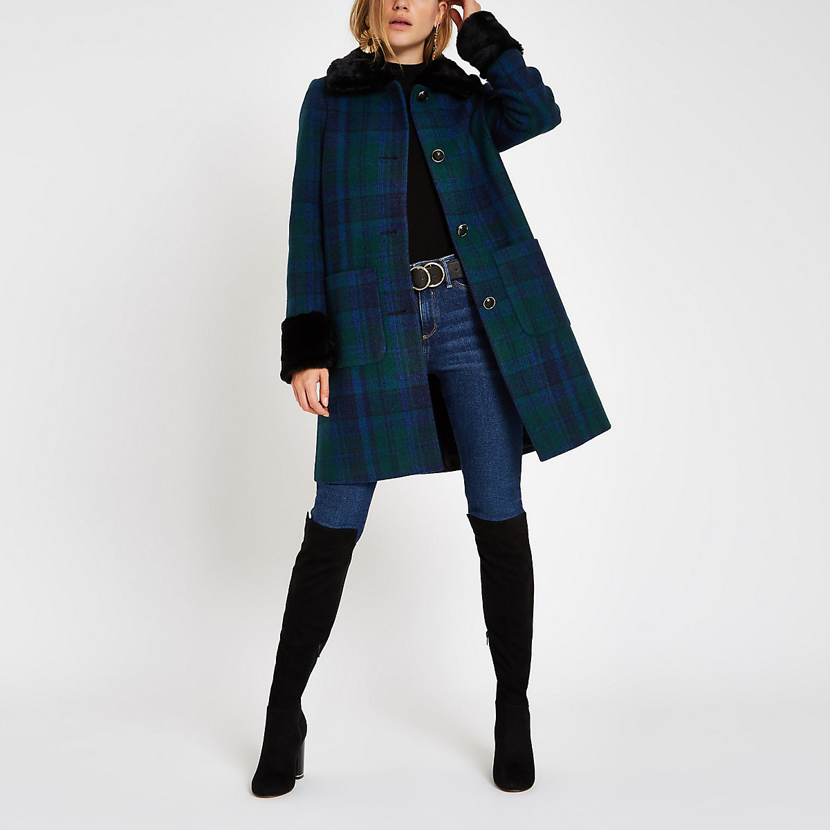 Blue check button faux fur trim swing coat