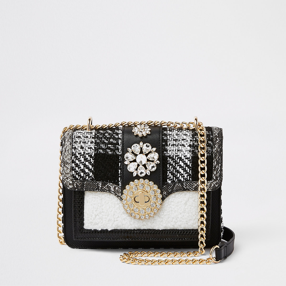 Black and white embellished cross body bag