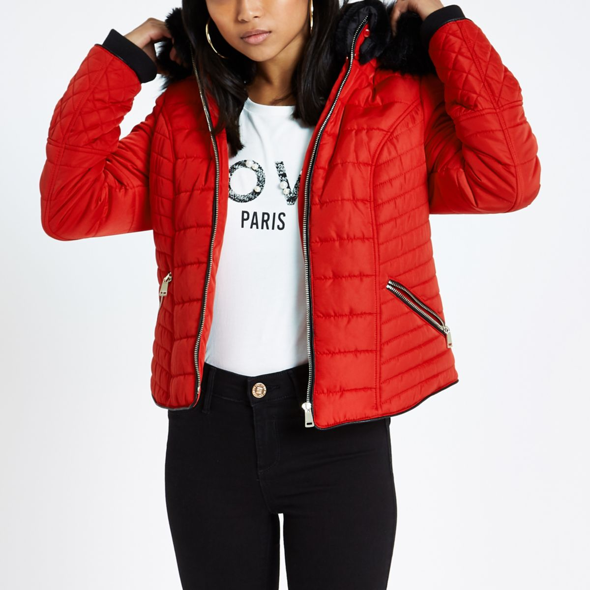 Petite Red Fur Hood Long Sleeve Padded Jacket Jackets Coats