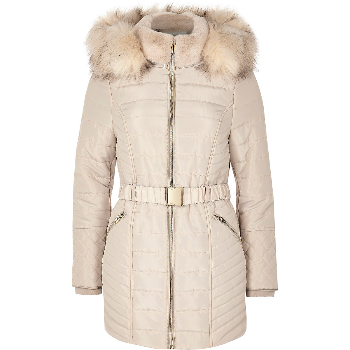 Petite cream faux fur belted padded coat