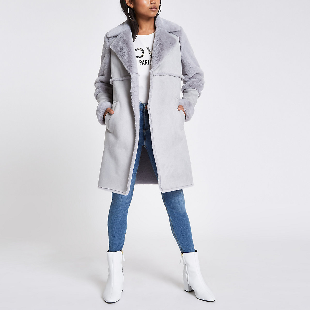 Petite grey suede faux fur trim longline coat