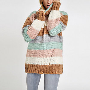 Brown knit stripe oversized roll neck sweater