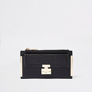 Black lock front fold out purse