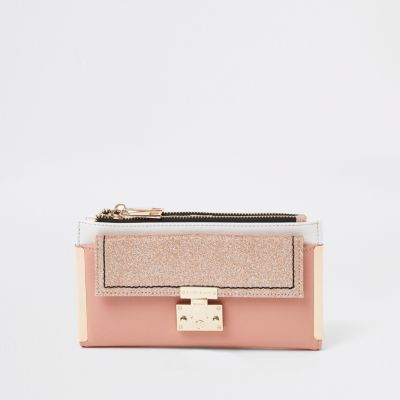 Pink Glitter Lock Front Fold Out Purse by River Island