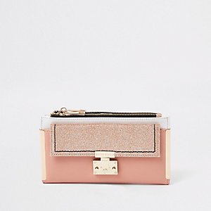 Pink Glitter Lock Front Fold Out Purse