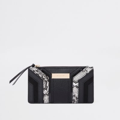 Black Cutabout Snake Panel Slim Foldout Purse by River Island