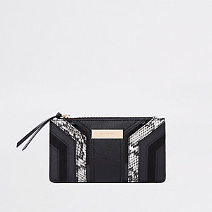 Black cutabout snake panel slim foldout purse