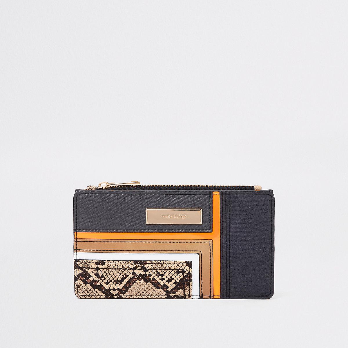 Dark grey cutabout panel slim foldout purse
