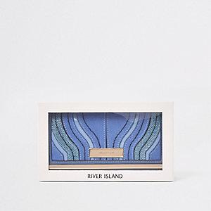 Coffret-cadeau porte-monnaie bleu foncé à découpe et fermoir clip
