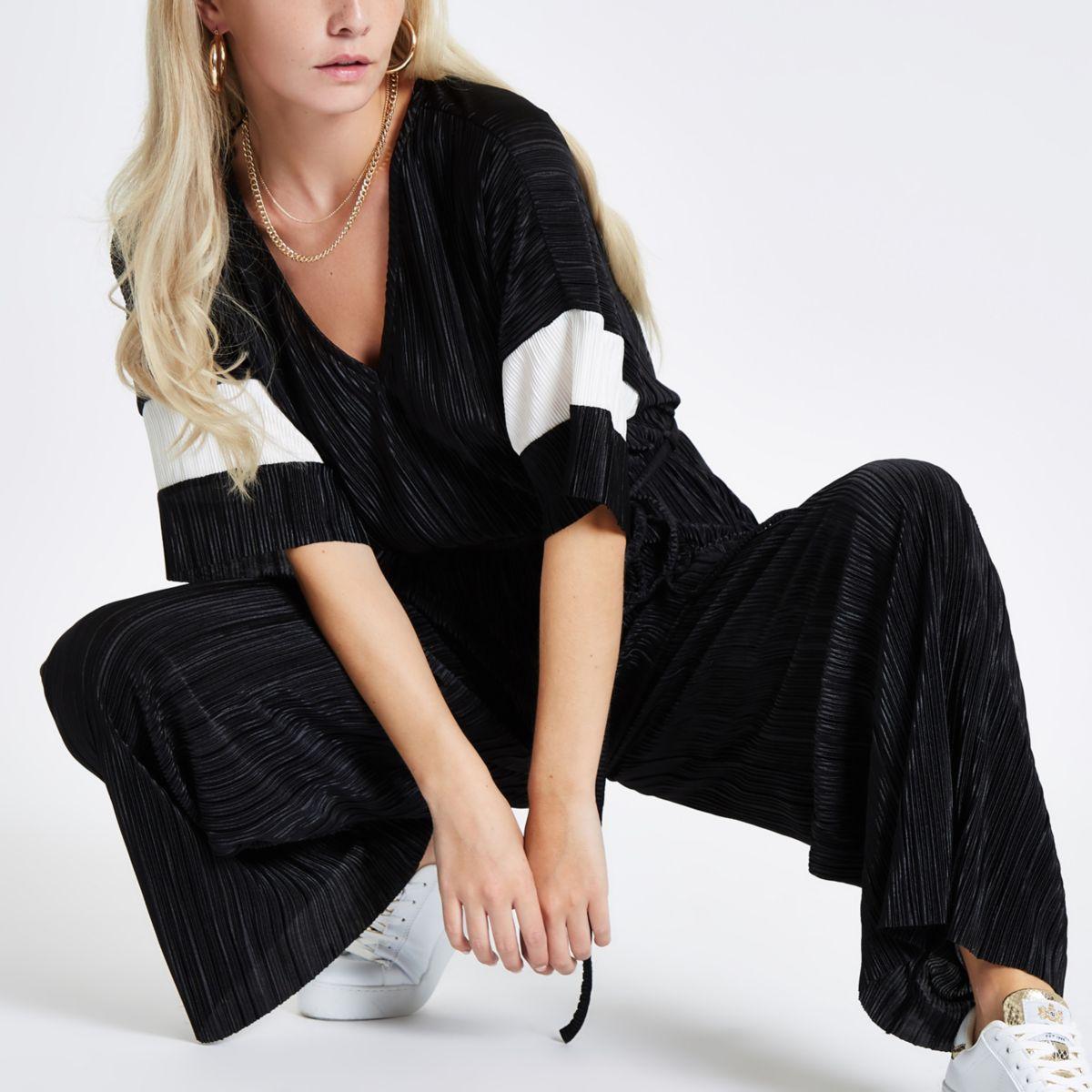 Petite black plisse kimono sleeve jumpsuit