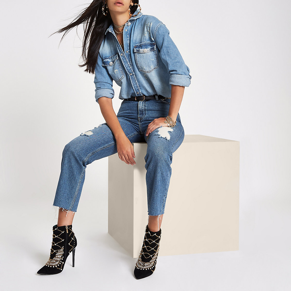 RI 30 mid blue denim oversized shirt