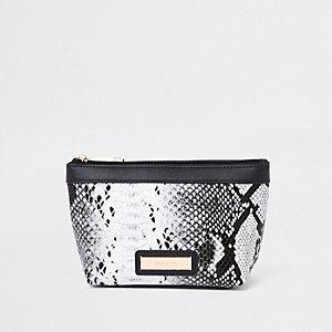 Black metallic snake print makeup bag