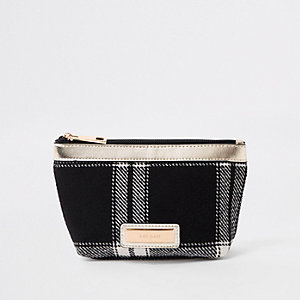 Black mono check makeup bag