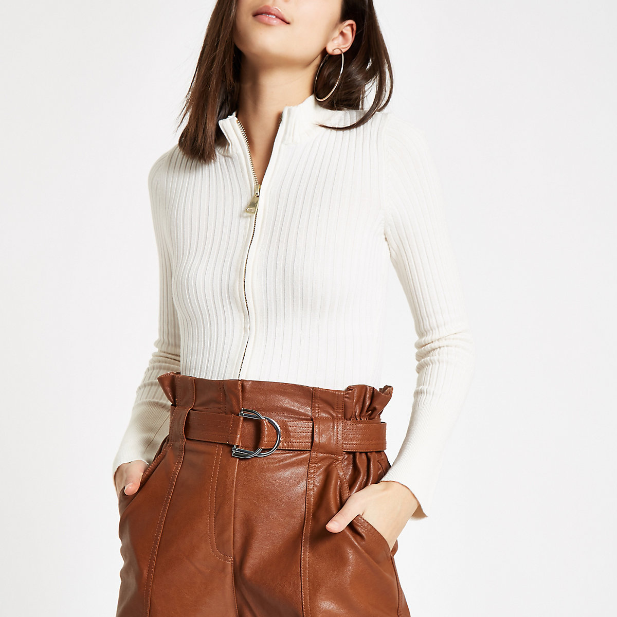 Cream knit zip through turtle neck sweater
