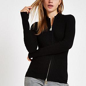 Black knit zip through turtle neck sweater