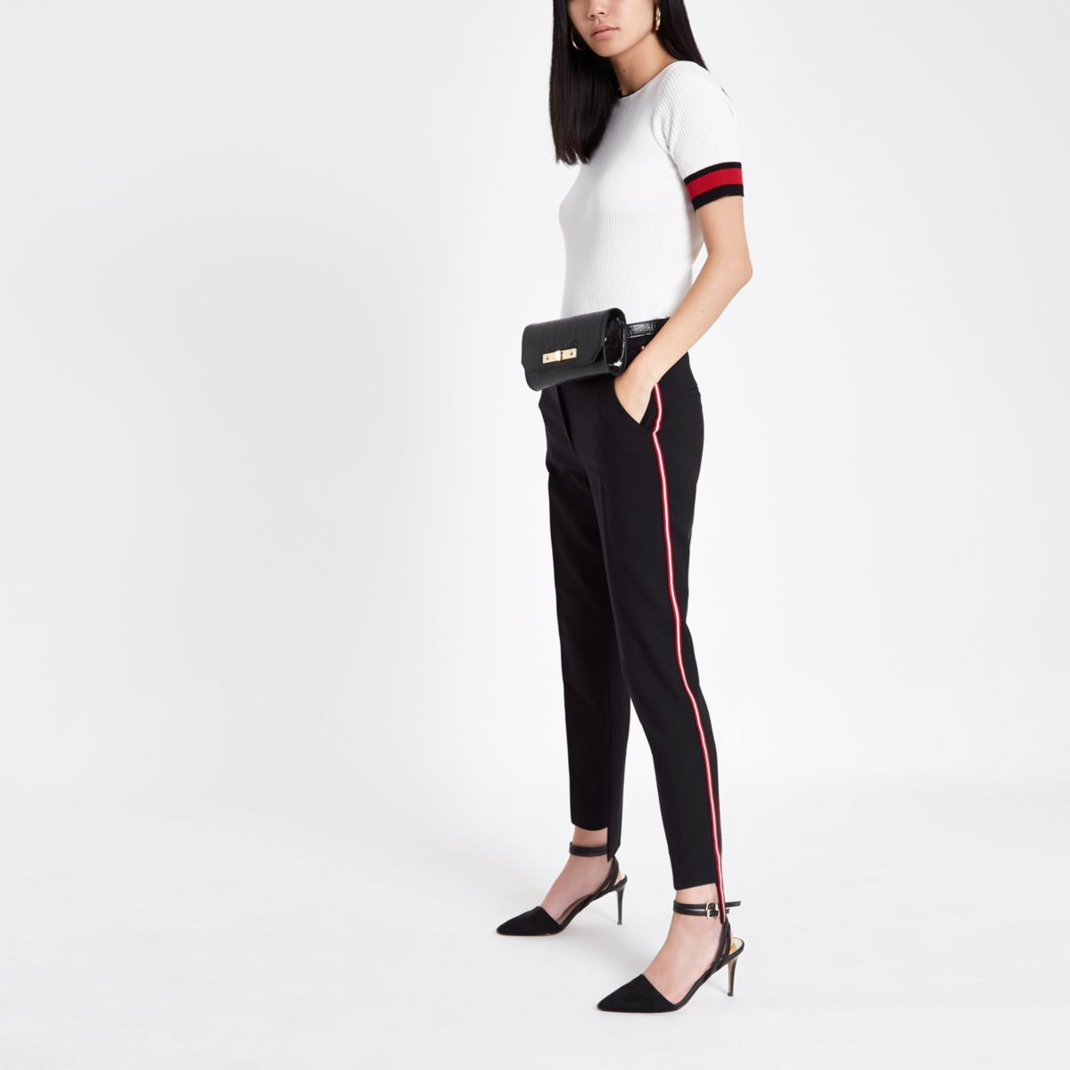 Black side stripe cigarette pants