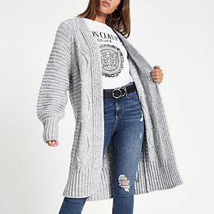 Grey cable knit longline maxi cardigan