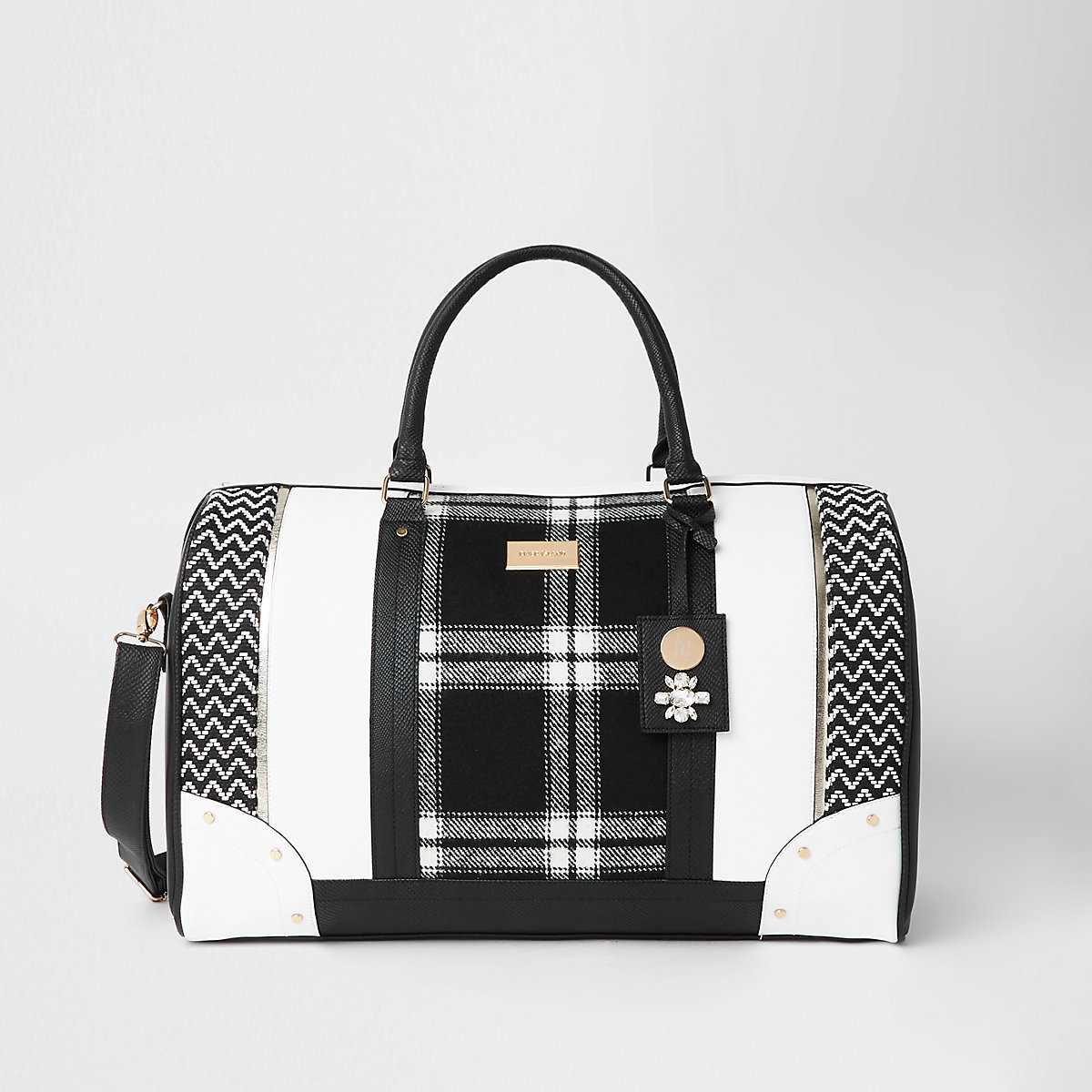 Black mono check weekend bag