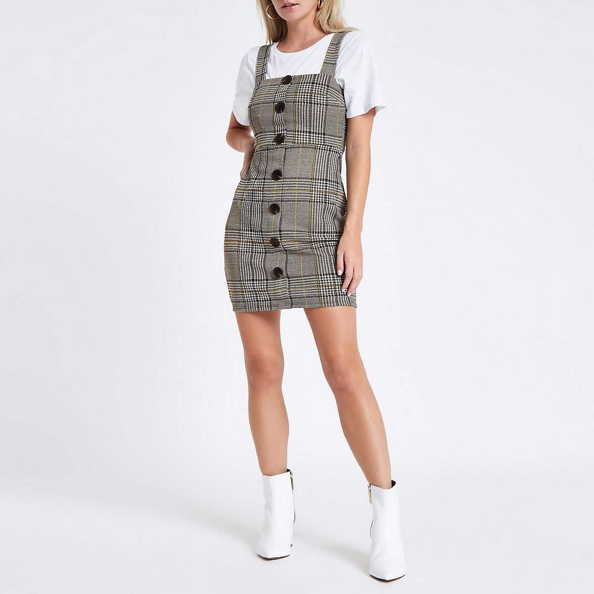 Petite grey check pinafore mini dress