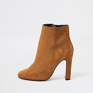 Brown square toe ankle boots