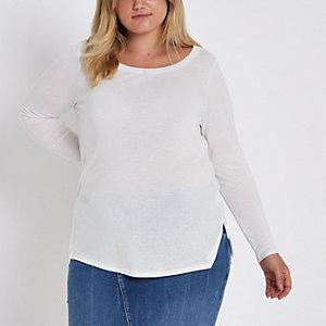 Plus – T-shirt en jersey blanc à manches longues