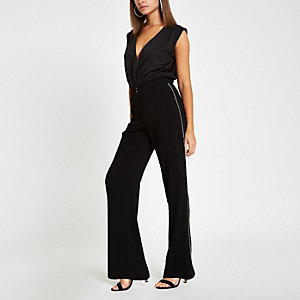 Black rhinestone trim wide leg pants