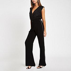Pantalon large noir avec bordures à strass