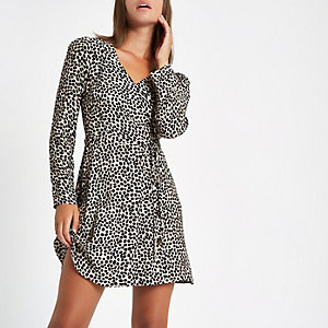 Black leopard print button side mini dress