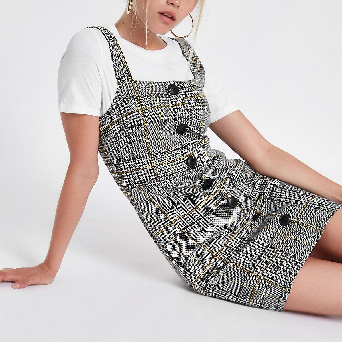 Grey check button up pinafore mini dress
