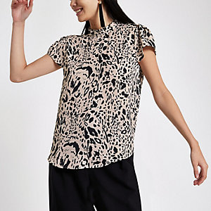 Black leopard print frill neck shell top