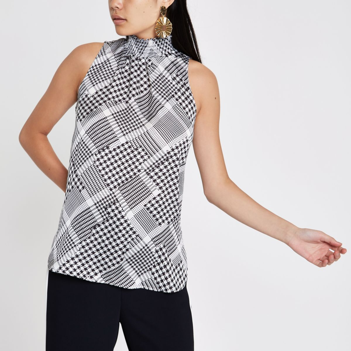 Black print shirred high neck sleeveless top