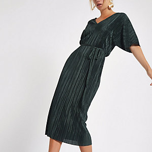 Dark green plisse kimono sleeve dress