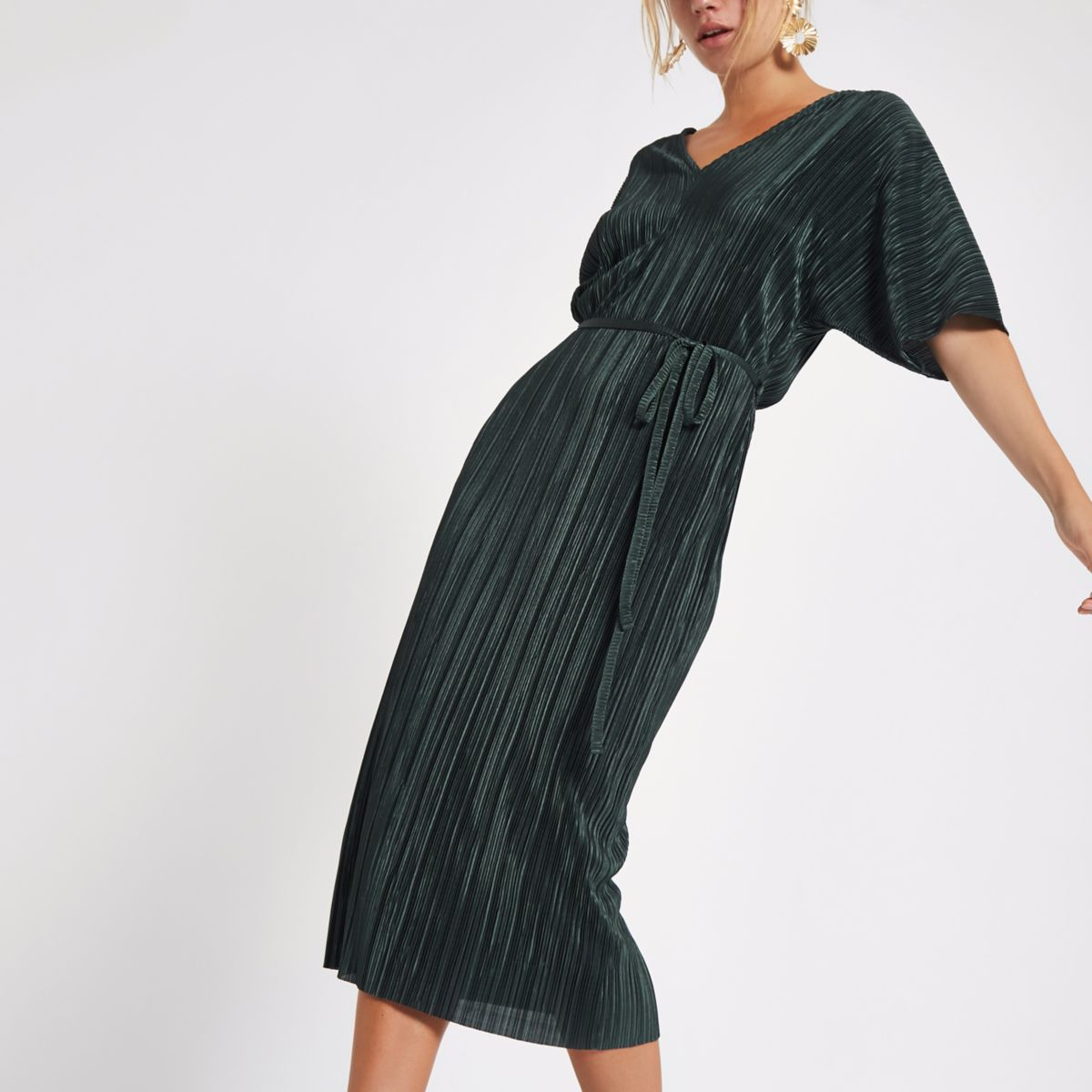 Dark green plisse kimono sleeve dress