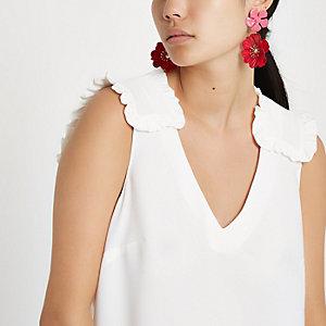 White frill short sleeve blouse