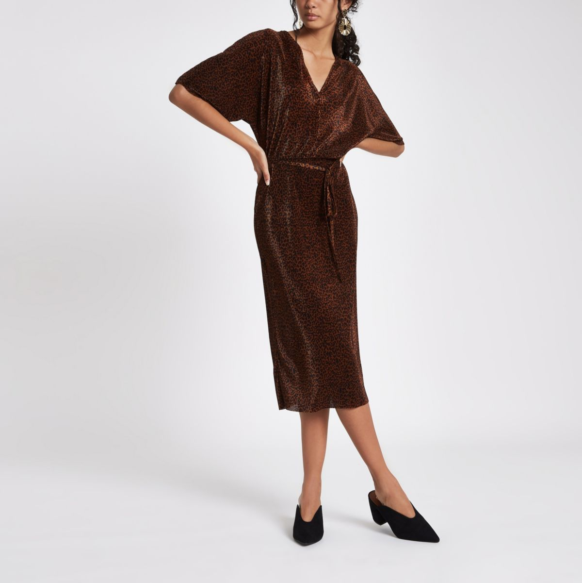 Brown leopard print kimono sleeve dress