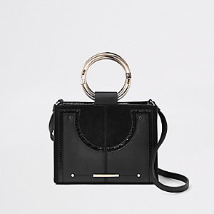 Black metal hoop mini cross body bag