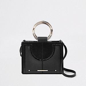 Mini sac bandoulière noir avec anneaux métalliques