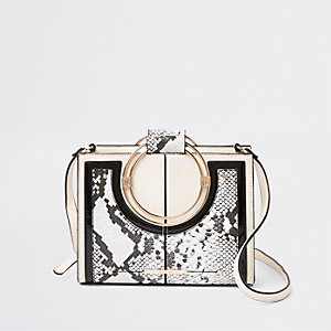 Beige snake print metal hoop cross body bag
