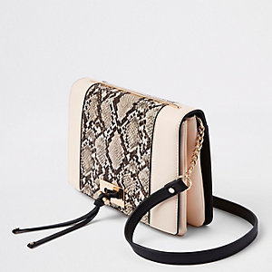Beige snake print panel cross body bag