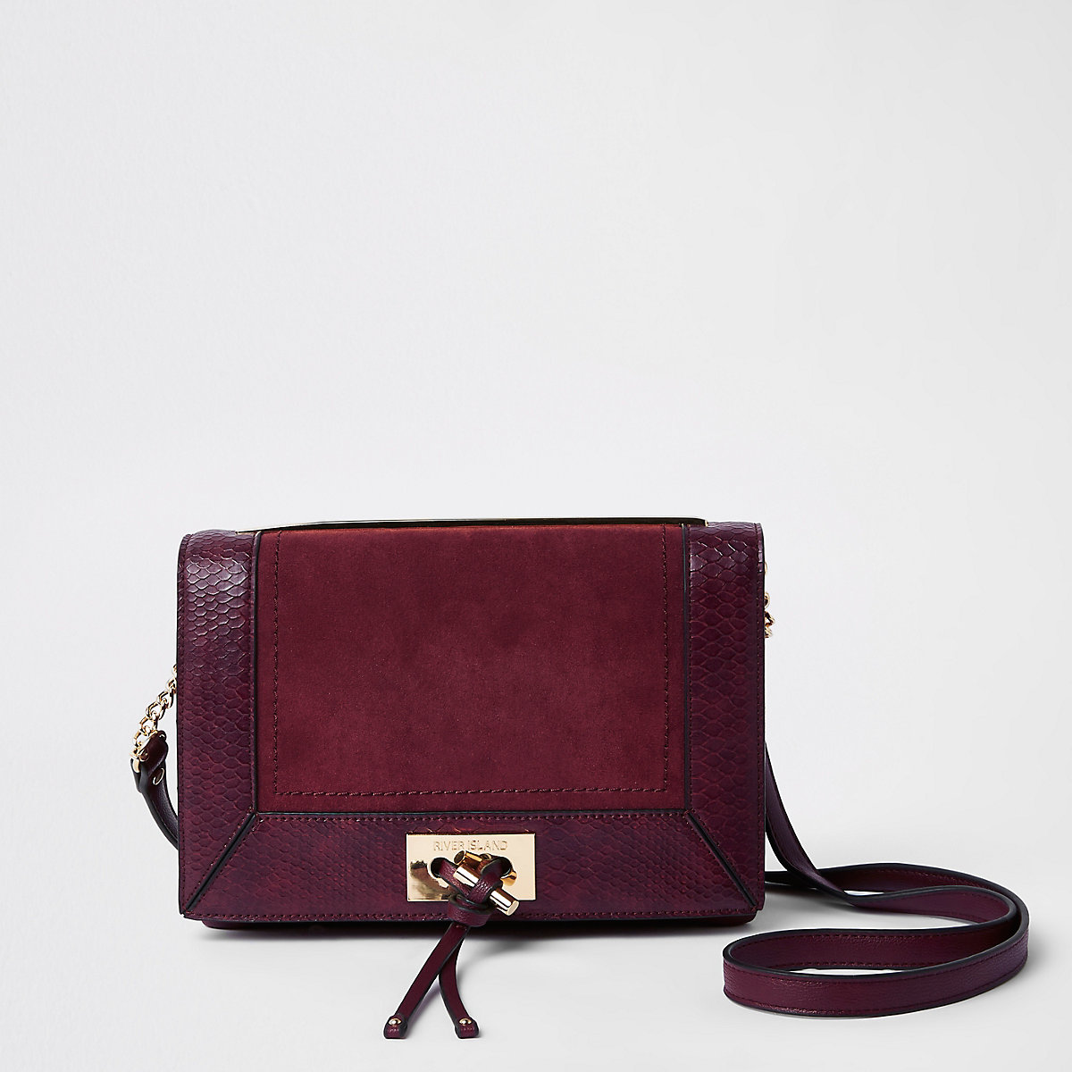 Purple croc embossed panel cross body bag